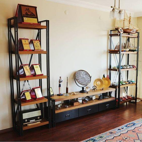 Rokko Masif ahşap tv sehpası ve kitaplık